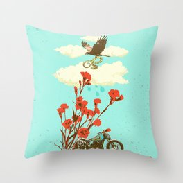 MOTORBIKE AND HAWK Throw Pillow