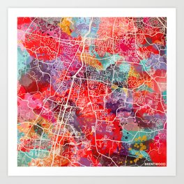 Brentwood map Tennessee TN 2 Art Print