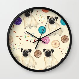 Pugs and donuts sweet sprinkles Wall Clock