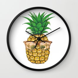 Gold Sunglasses Pineapple | Fruit Illustration Wall Clock