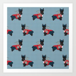 Scottish Terrier dog breed custom pet portrait funny dog pattern dog gifts all breeds Art Print