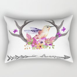 Hummingbird on floral Antlers and Dream arrow Rectangular Pillow