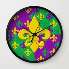 Mardi Gras Fleur-de-Lis Pattern Wall Clock