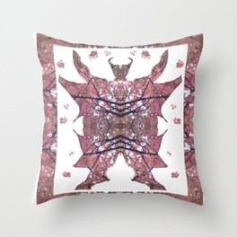 Horned Man V4 cut from Tree Leaf Photo 801 Fractal, with wings and hoofed feet. Throw Pillow