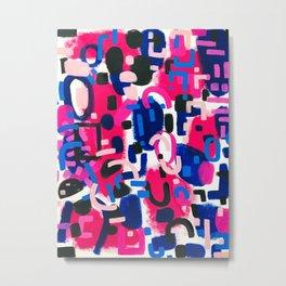 Magenta Blue Abstract Acrylic Painting Kusama Primitive Shapes Metal Print