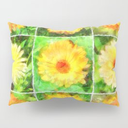 Watercolour Collage of Yellow And Orange Marigolds Pillow Sham