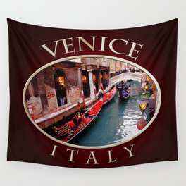 Gondolas On A Small Venetian Canal Wall Tapestry