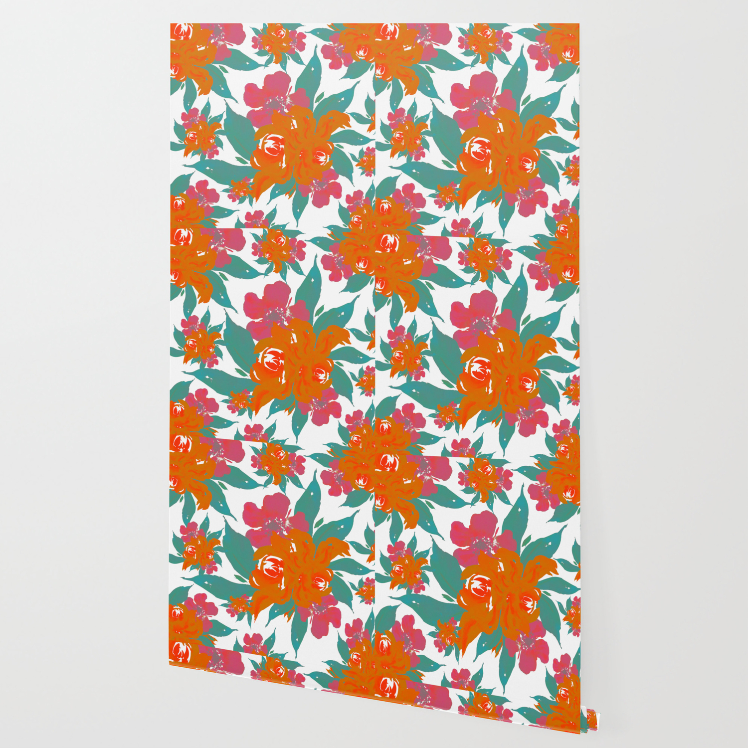 Vivid Colors Tropical Classic Floral Wallpaper By Marcanton
