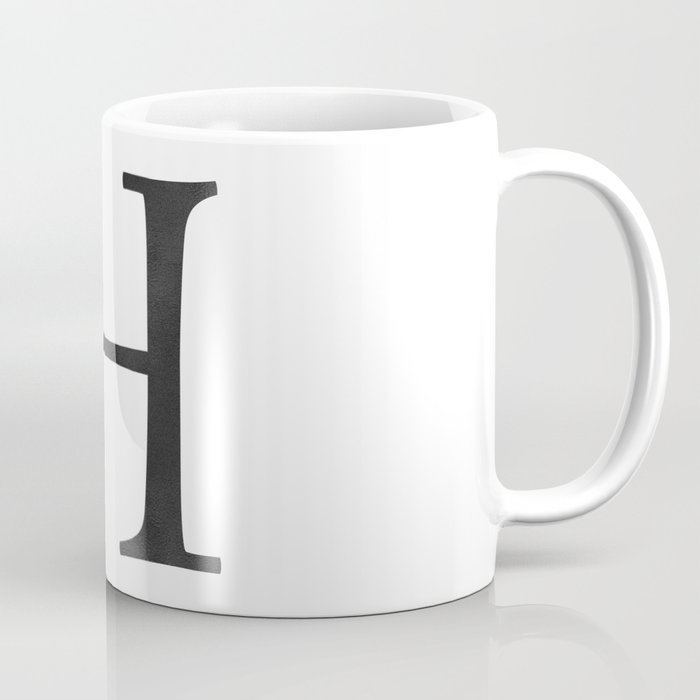 Letter H Initial Monogram Black and White Coffee Mug