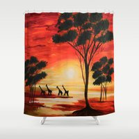 african Shower Curtains featuring African sunset by maggs326
