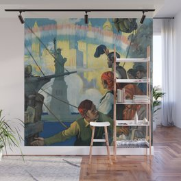 Immigrants and The Statue of Liberty Artwork Wall Mural