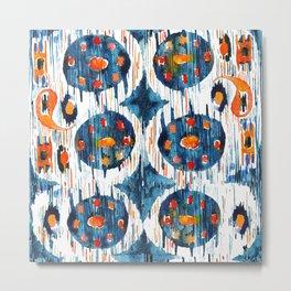 blue circle balinese ikat print Metal Print
