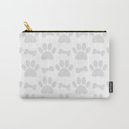 Paper Cut Dog Paws And Bones Pattern Carry-All Pouch