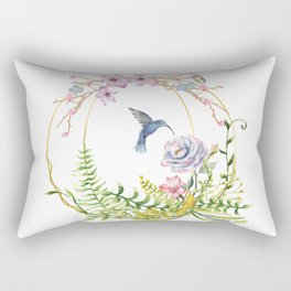 Glittering Golden Floral Hummingbird Terrarium Rectangular Pillow