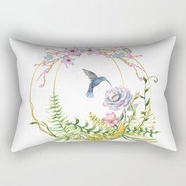 Glittering Golden Floral Hummingbird Terrarium Rectangular Pillow