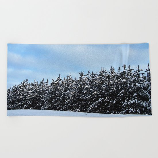 Christmas Tree Forest Beach Towel