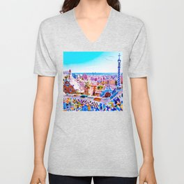 Park Guell Watercolor painting Unisex V-Neck