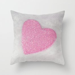 Pink Snow heart Throw Pillow