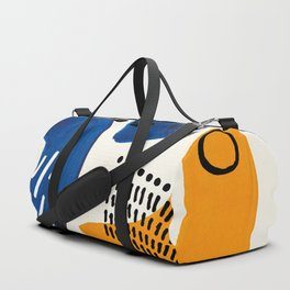 Fun Colorful Abstract Mid Century Minimalist Navy Blue Yellow Organic Shapes Water Drops Patterns Duffle Bag