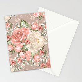 Peach Blush Vintage Watercolor Floral Pattern Stationery Cards