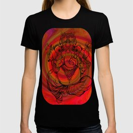 Lord Ganesha on Red Spiral T-shirt