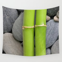 Green Bamboo Sticks on Pebble Wall Tapestry