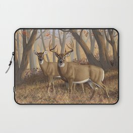 Whitetail Deer Trophy Buck and Doe in Autumn Laptop Sleeve