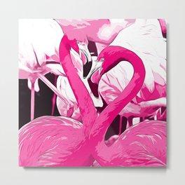 pink flamingo love couple vector art Metal Print