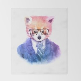 Cute fashion hipster animals pets red panda Throw Blanket