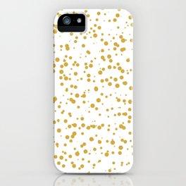 Gold Confetti Dots Pattern iPhone Case
