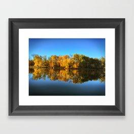 Autumn Tree's Reflected on a Still Lake Framed Art Print