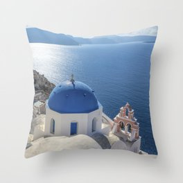Santorini Island with churches and sea view in Greece Throw Pillow