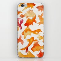 goldfish iPhone & iPod Skins featuring Goldfish by Cat Coquillette