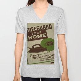 Vintage poster - Safeguard Your Home Unisex V-Neck