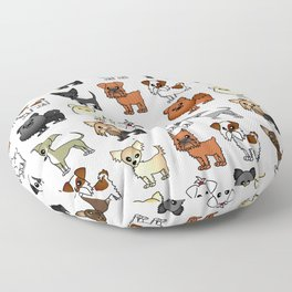 Cute Toy Dog Breed Pattern Floor Pillow