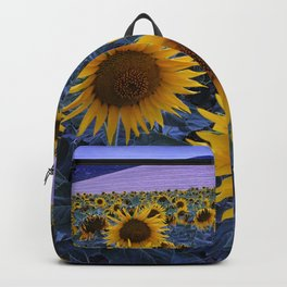 Sunflowers At Blue Hour . Square Backpack