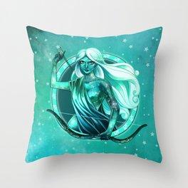 Turquoise Sagittarius Throw Pillow