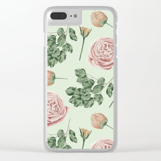 Rose Garden Delight Mint Green + Pink Clear iPhone Case