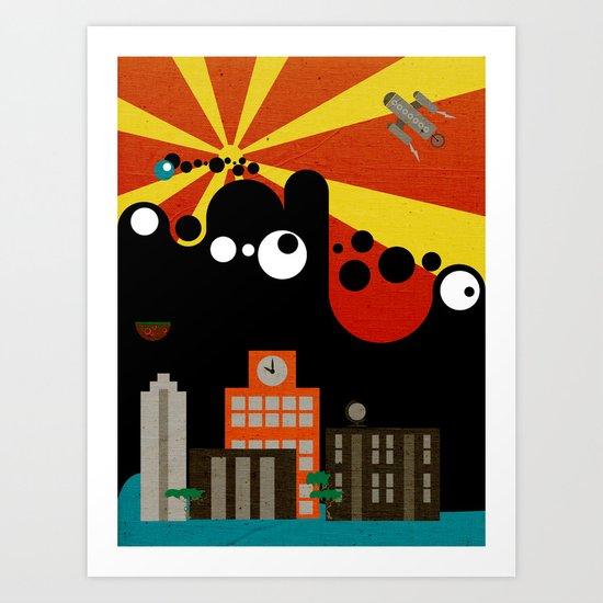 Black Blob Attack Art Print