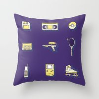 90s Throw Pillows featuring 90s Stuff by POP Collective