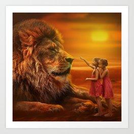 Lion twins   Lion et jumelles Art Print