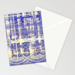 needlepoint sampler in blues Stationery Cards