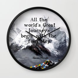 All the world's Great Journeys Motivational Tibetan Proverb With Panoramic View Of Everest Mountain Wall Clock