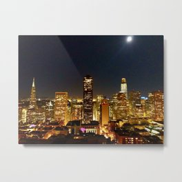 San Francisco at night, illuminated by the Moon Metal Print