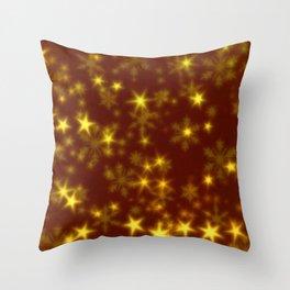 Blurry Stars golden Throw Pillow