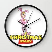 toy story Wall Clocks featuring A Christmas (Toy) Story by DGN Graphix