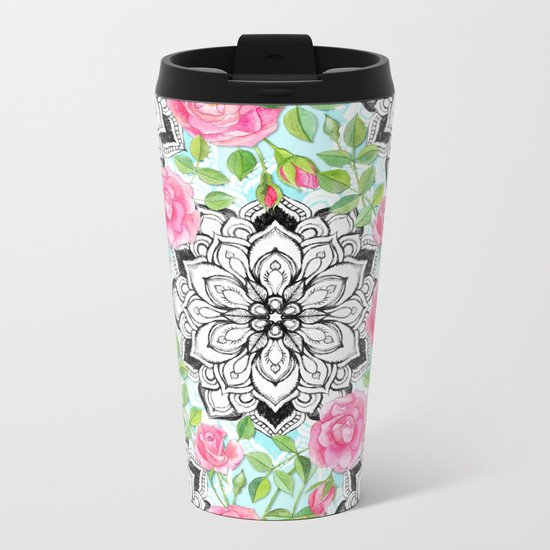 Pink Roses and Mandalas on Sky Blue Lace Metal Travel Mug