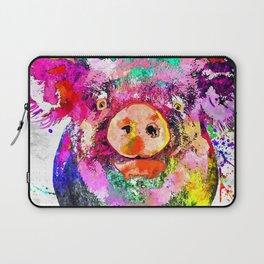 Pig Watercolor Grunge Laptop Sleeve
