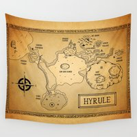 hyrule Wall Tapestries featuring Hyrule Map  OOT by KewlZidane
