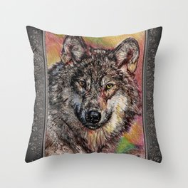 Portrait of a Gray Wolf Throw Pillow